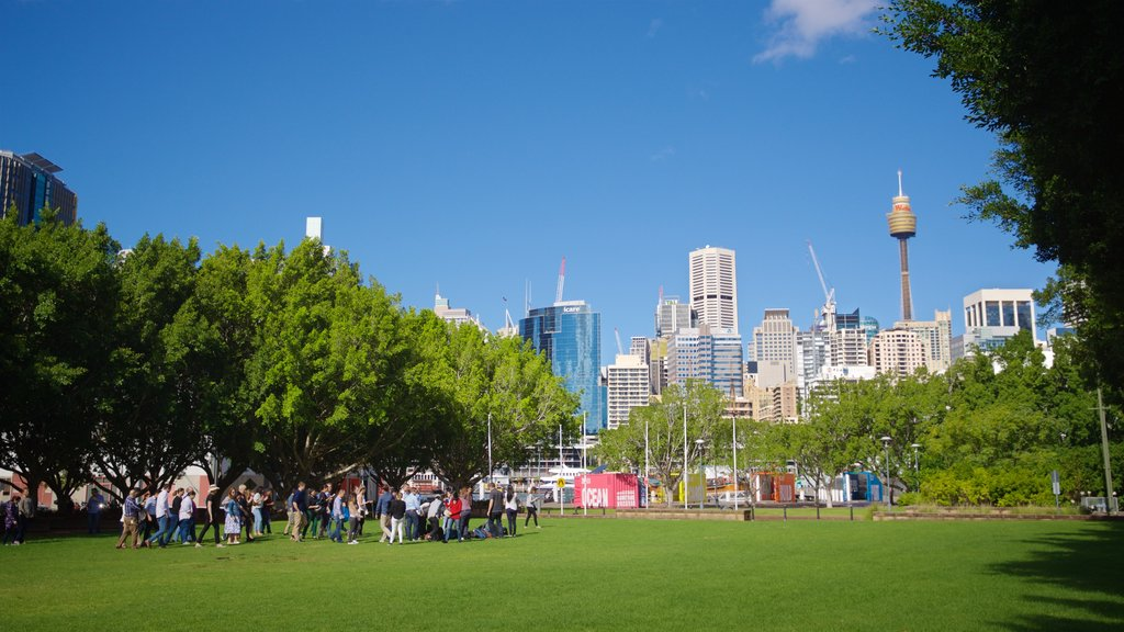 Sydney showing a park as well as a small group of people