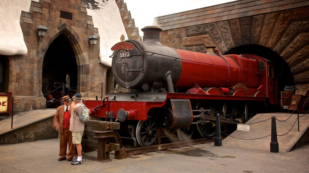The Wizarding World of Harry Potter™ showing rides and railway items as well as an individual male