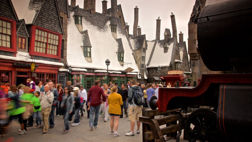 The Wizarding World of Harry Potter™ showing rides as well as a large group of people