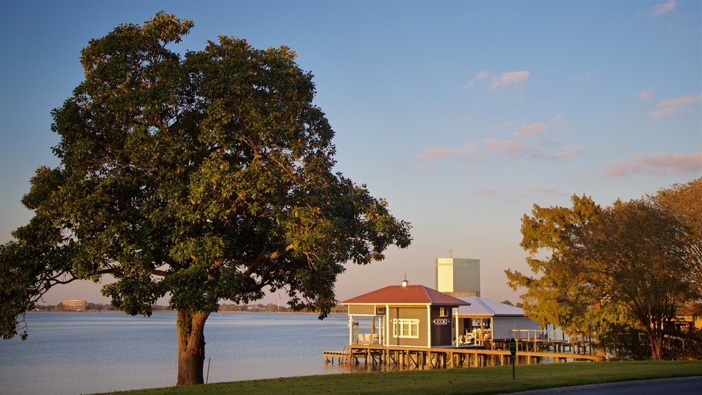Lake Charles showing a lake or waterhole and a sunset