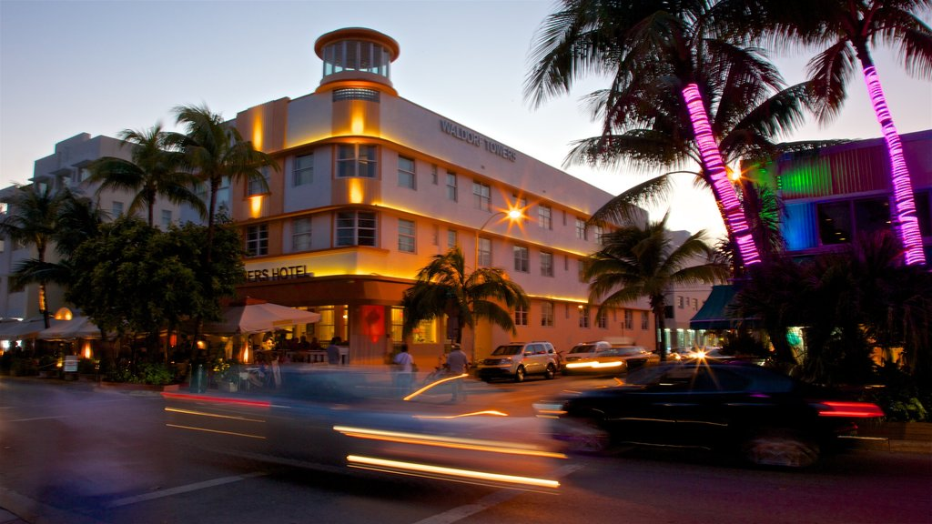 Art Deco Historic District featuring a sunset