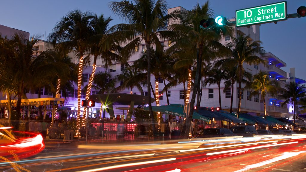 Art Deco Historic District which includes night scenes