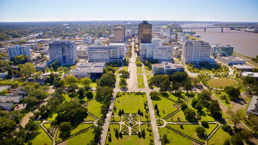 Louisiana State Capitol showing landscape views and a city