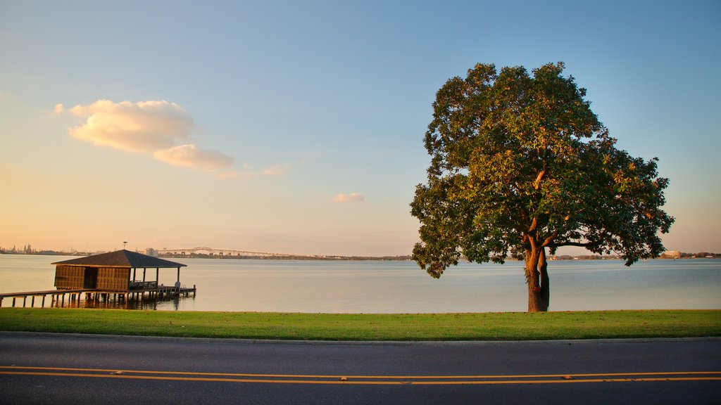 Lake Charles featuring general coastal views, a sunset and landscape views