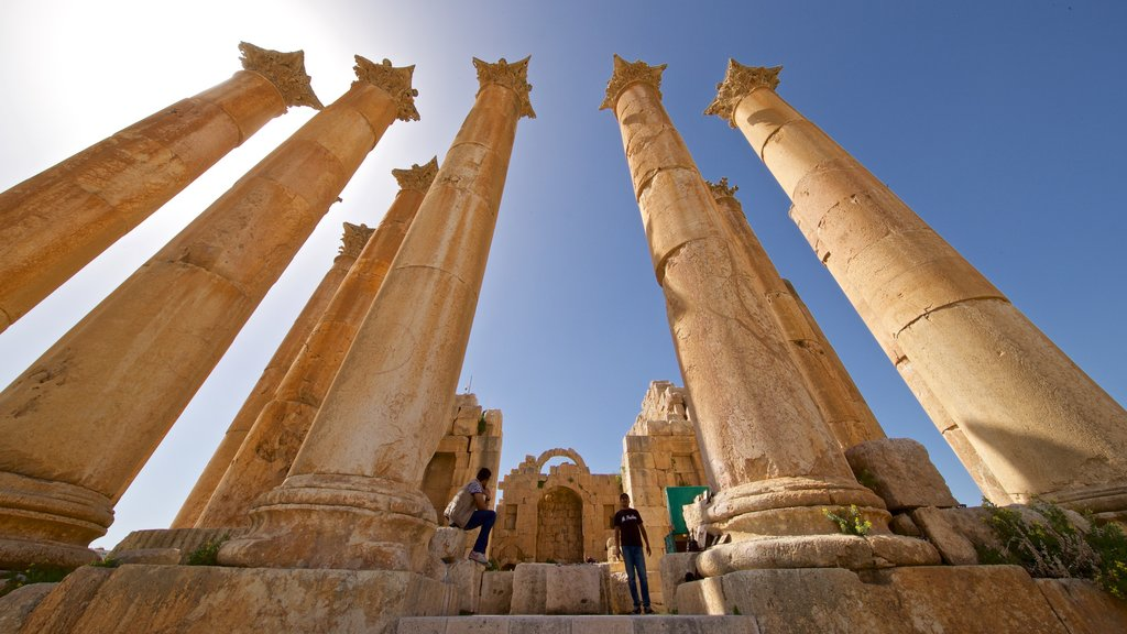 Jerash Temple of Artemis showing heritage architecture as well as a small group of people