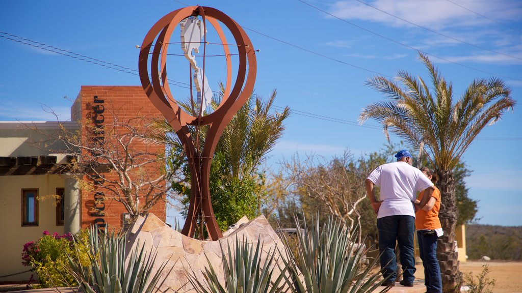 Tropic of Cancer Monument showing outdoor art as well as a couple