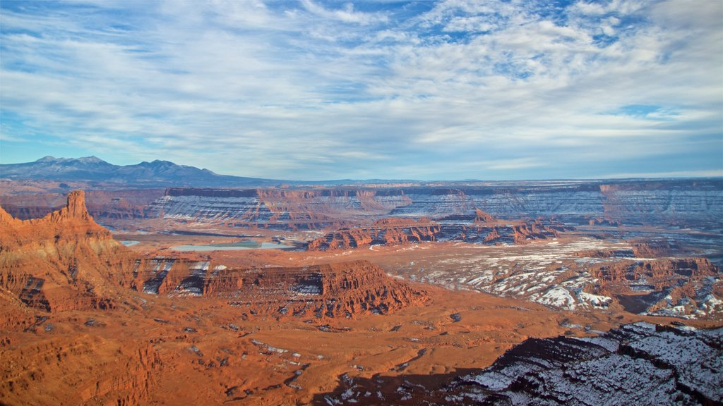 Dead Horse Point State Park showing desert views, landscape views and a gorge or canyon