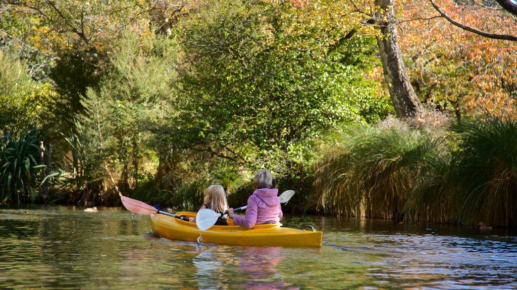 Christchurch mostrando un río o arroyo y kayak o canoa y también una familia