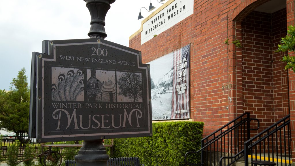 Winter Park Historical Museum featuring signage