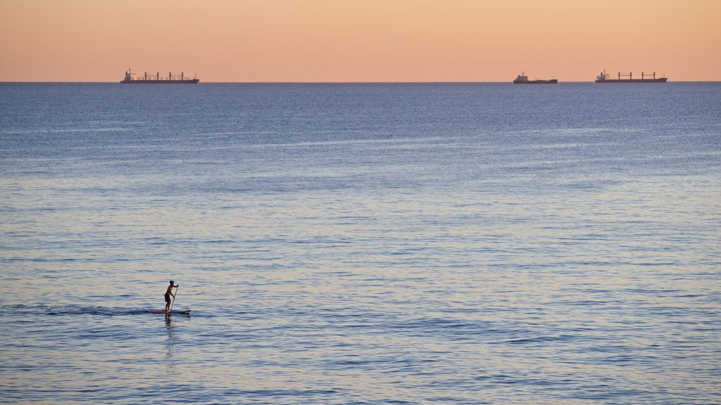 Cottesloe Beach showing kayaking or canoeing, general coastal views and a sunset