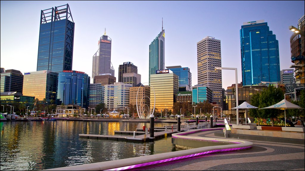 Elizabeth Quay which includes a city and a bay or harbor