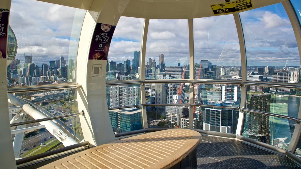 Melbourne Star Observation Wheel featuring views, a city and interior views
