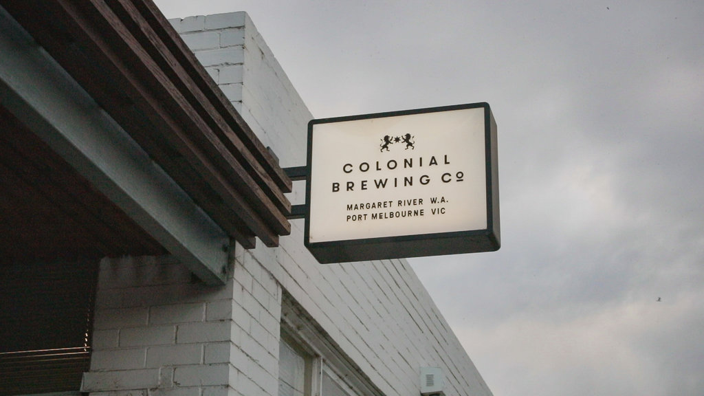 Colonial Brewing Co. featuring signage