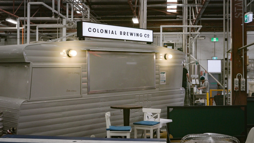 Colonial Brewing Co. featuring interior views and signage