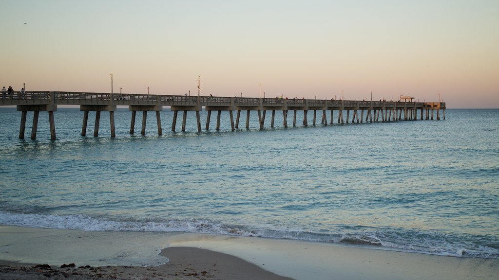 Dania Beach featuring a sunset, a sandy beach and general coastal views