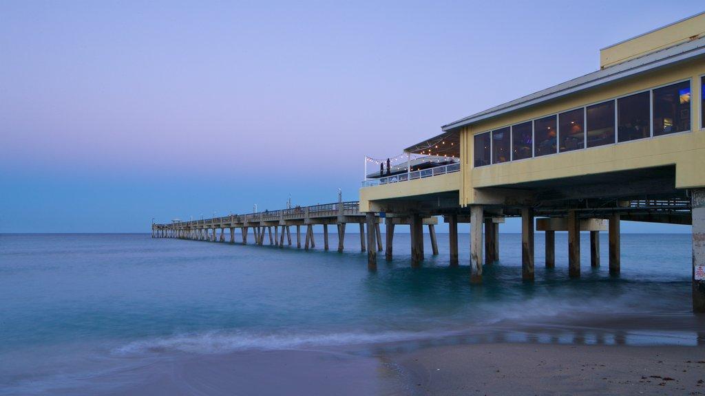 Dania Beach showing a sunset, a beach and general coastal views