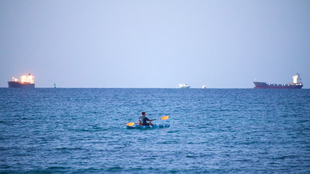 Dania Beach featuring kayaking or canoeing and general coastal views as well as an individual male