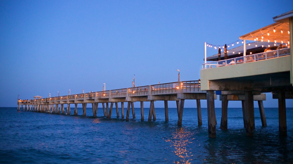 Dania Beach featuring night scenes and general coastal views