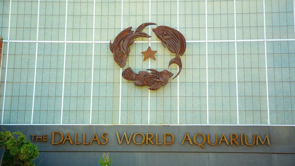 Dallas World Aquarium featuring marine life, modern architecture and signage