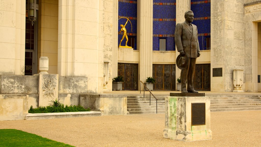 Hall of State showing a monument, a statue or sculpture and outdoor art