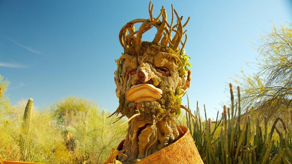 Desert Botanical Garden featuring a park, outdoor art and desert views