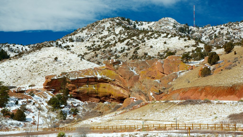 Red Rocks Amphitheater which includes landscape views, snow and mountains