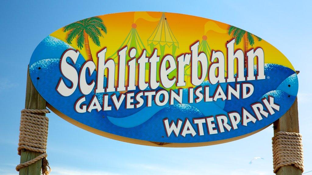 Galveston Schlitterbahn Waterpark showing signage and rides
