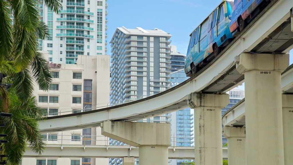 Downtown Miami Shopping District showing a city and railway items