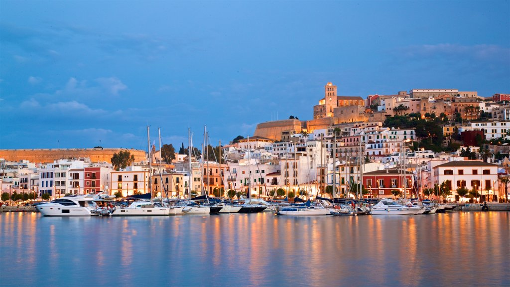 Ibiza City Centre featuring a bay or harbor, a coastal town and night scenes