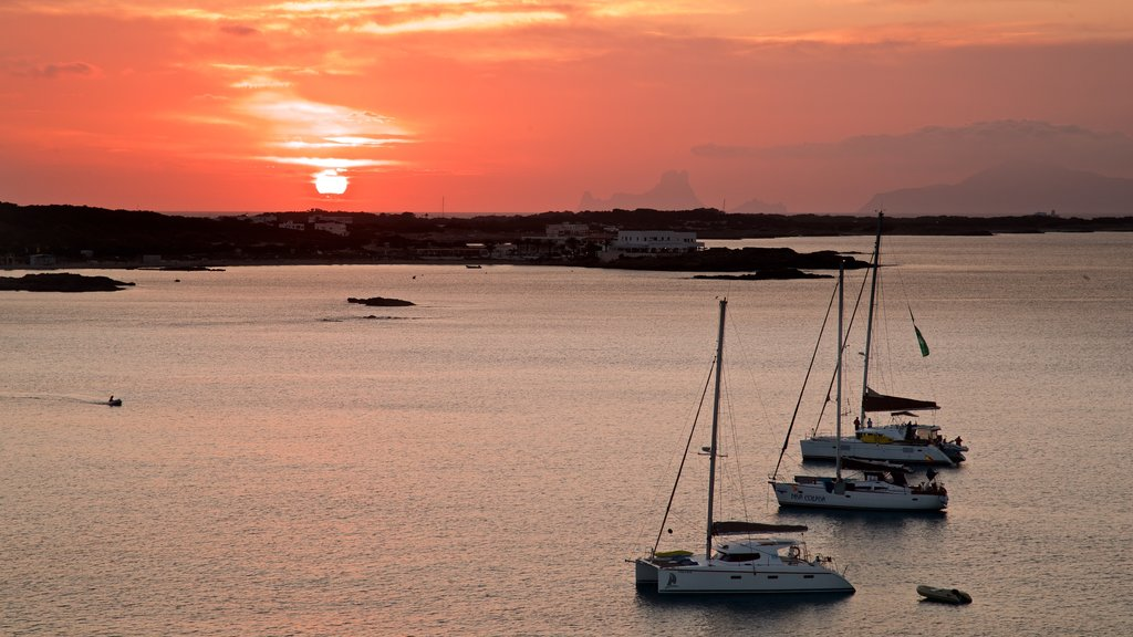 Formentera which includes a bay or harbor, a sunset and general coastal views