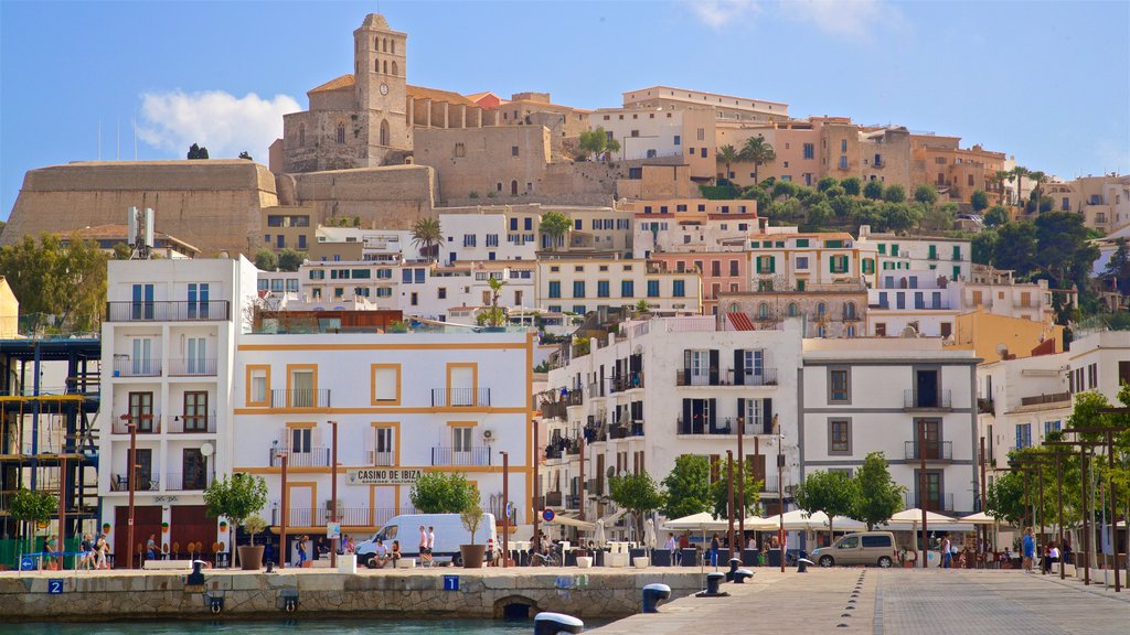 Port of Ibiza which includes a bay or harbor and a city