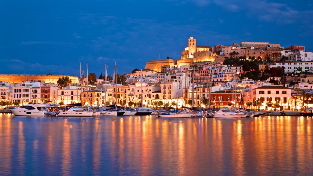 Ibiza City Centre showing a bay or harbor, a coastal town and night scenes
