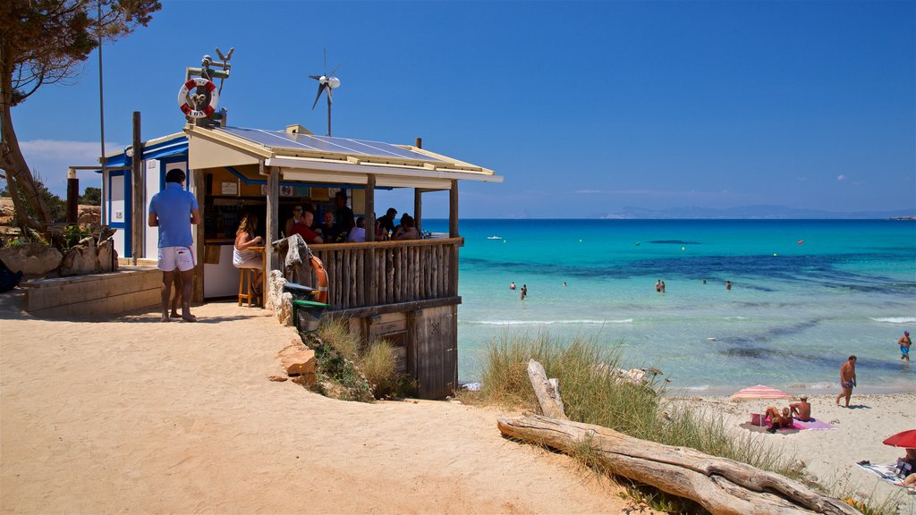 Formentera featuring a sandy beach, a beach bar and general coastal views