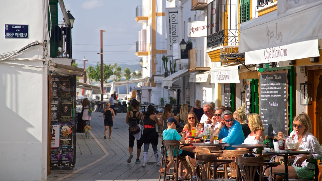Ibiza City Centre featuring cafe scenes and outdoor eating as well as a small group of people