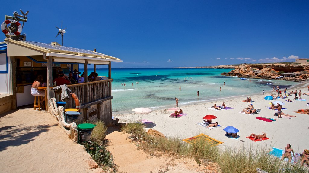 Cala Saona which includes general coastal views and a sandy beach as well as a small group of people