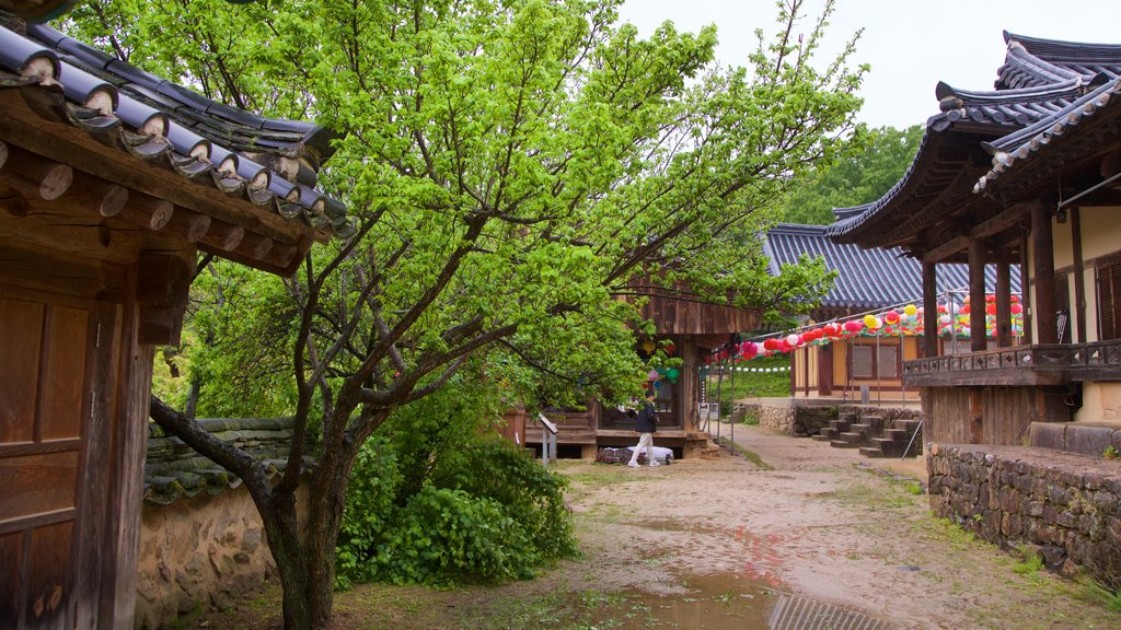 Bongjeongsa Temple featuring heritage elements and a small town or village