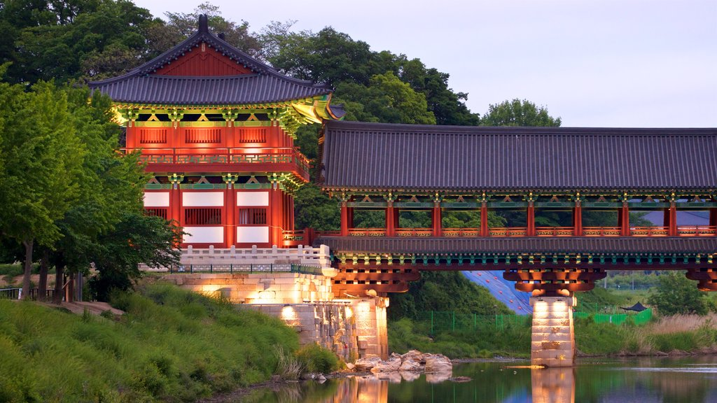 Gyeongju featuring heritage elements, a bridge and a river or creek