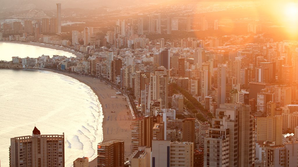 Benidorm which includes a sunset, a city and a coastal town