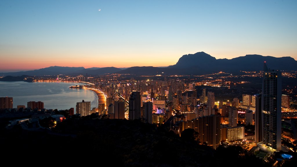 Benidorm which includes night scenes, landscape views and a sunset