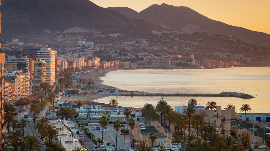 Fuengirola featuring a coastal town, a sunset and landscape views