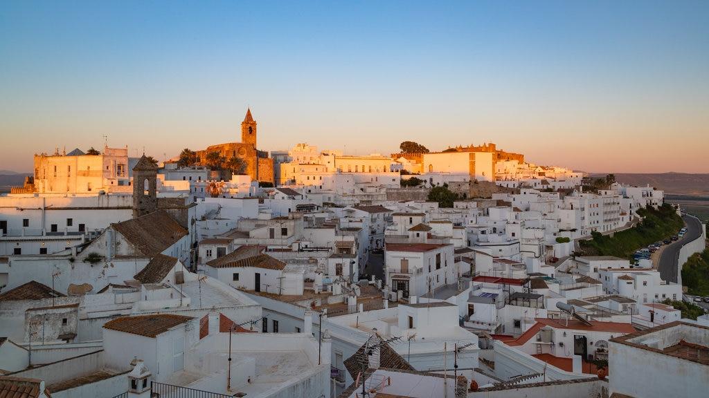 Vejer de la Frontera featuring a city, landscape views and a sunset