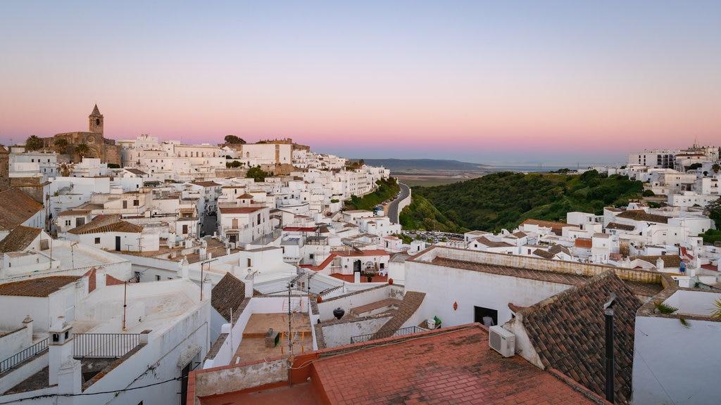 Vejer de la Frontera featuring landscape views, a sunset and a city