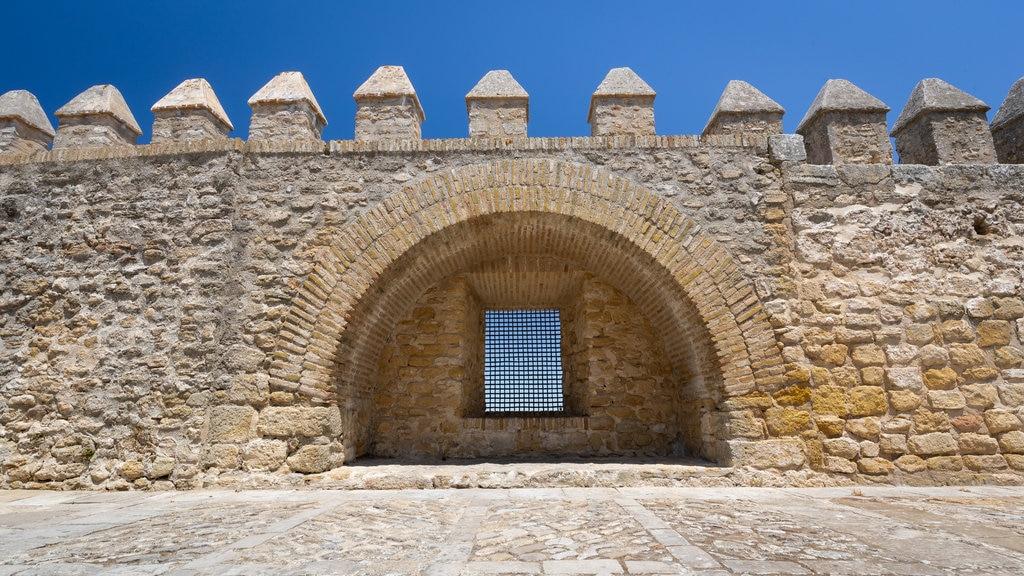 Vejer de la Frontera which includes a castle and heritage elements