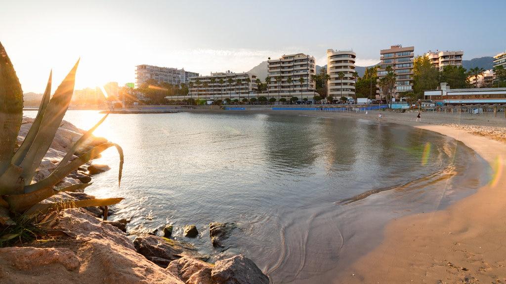 Marbella Marina featuring a sunset, general coastal views and a sandy beach