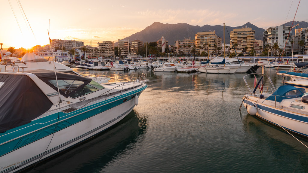 Marbella Marina featuring a sunset and a bay or harbor