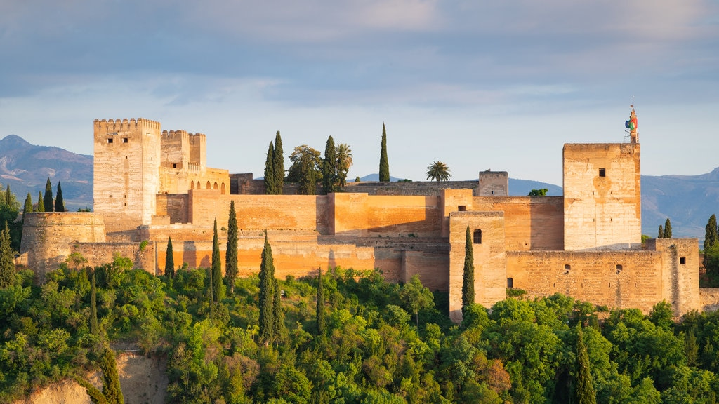 Alhambra featuring heritage architecture, landscape views and chateau or palace
