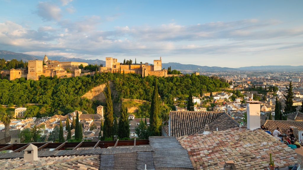 Alhambra showing landscape views and a city