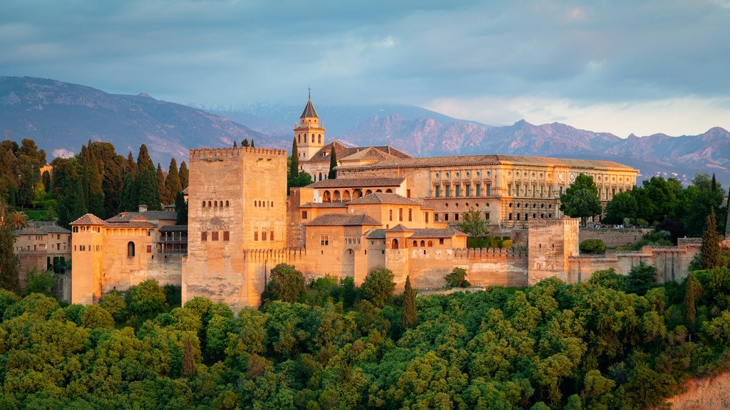 Alhambra featuring landscape views, chateau or palace and heritage architecture
