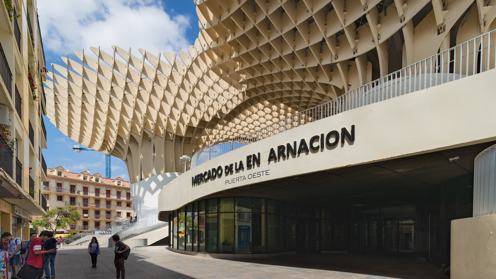 Metropol Parasol showing outdoor art, signage and modern architecture