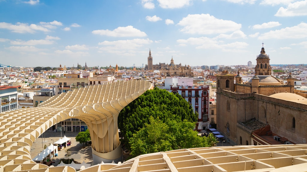 Metropol Parasol featuring a city, landscape views and modern architecture
